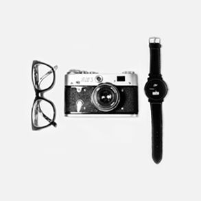 glasses, camera and watch